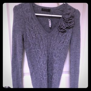 NEW Limited Small Gray V-Neck Sweater with Flowers